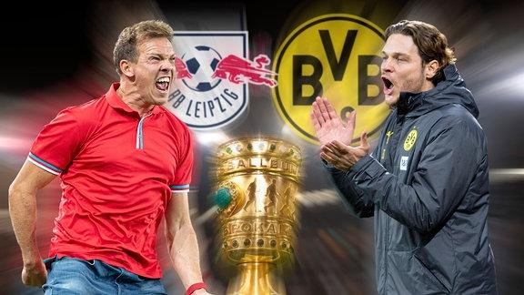 Collage - Julian Nagelsmann Trainer trifft auf Trainer Edin Terzic Borussia Dortmund.