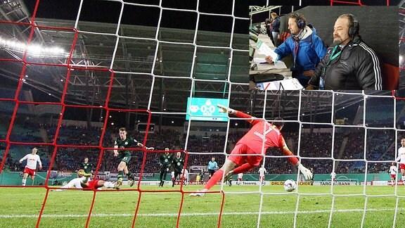 Matheus Cunha erzielt den Treffer zum 1:0 gegen Robin Knoche