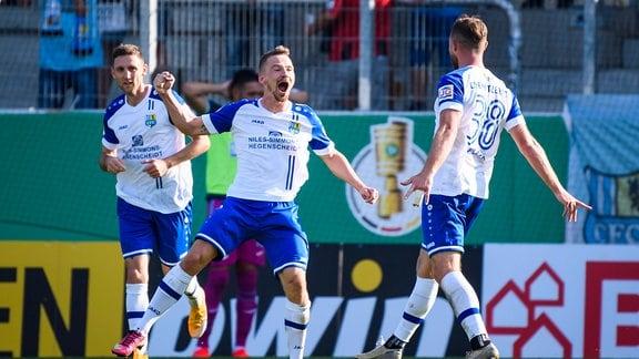 Torjubel zum 1:1 durch Kevin Freiberger. Chemnitzer FC