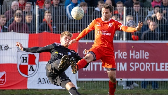 Dustin Bomheuer Magdeburg gegen Tobias Grosse Ammendorf BSV Ammendorf 1910 e.V. vs. 1. FC Magdeburg FSA Landespokal der Herren