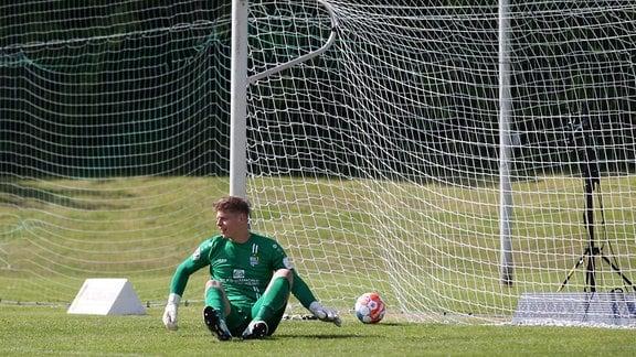 Tor gegen Torwart Jakub JAKUBOV vom Chemnitzer FC