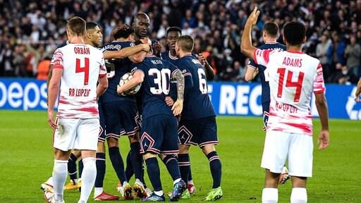 Die Spieler von Paris St. Germain jubeln