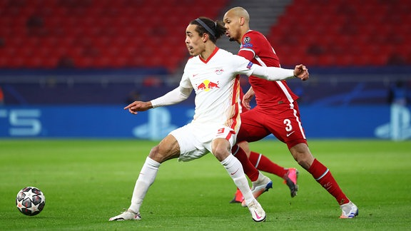 Yussuf Poulsen RB Leipzig, Fabinho FC Liverpool