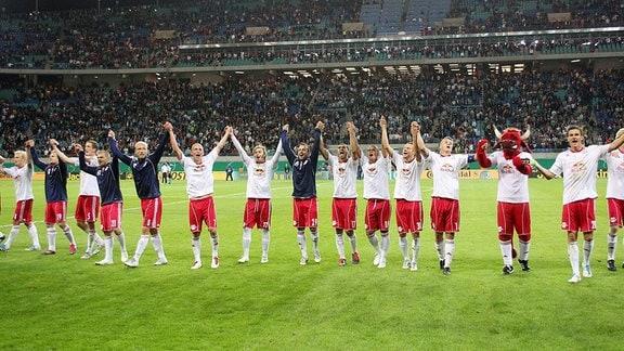 RB Leipzig Schlussjubel.