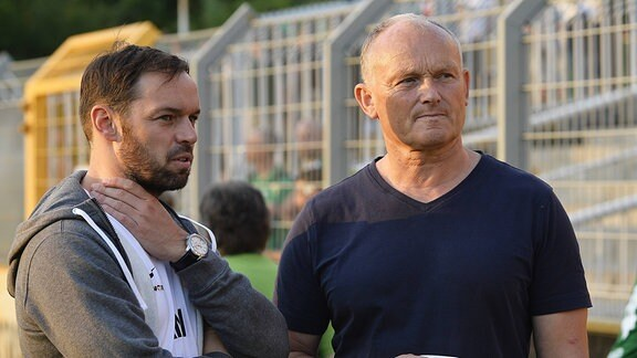 Andy Müller-Papra (Sportdirektor Chemie Leipzig) und Frank Kühne (Präsident Chemie Leipzig)