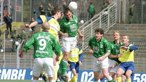 Almir Filipovic (FCS), Marco Rose (VfB) , Mathias Wentzel (FCS), Boris Lucic (FCS), David Bergner (FCS), Burkhard Reich (VfB)