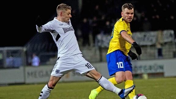 v.l. Manuel Hoffmann (SV Babelsberg 03) ,Paul Schinke (1.FC Lok Leipzig)