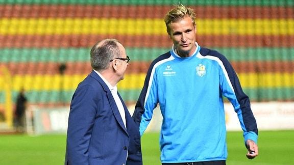 Chemnitzer FC: Trainer David Bergner und Insolvenzverwalter Klaus Siemon