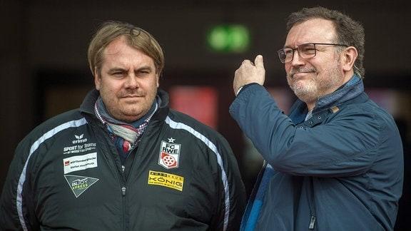 RW Erfurt:  v.l.Sportdirektor Oliver Bornemann und Insolvenzverwalter Volker Reinhardt