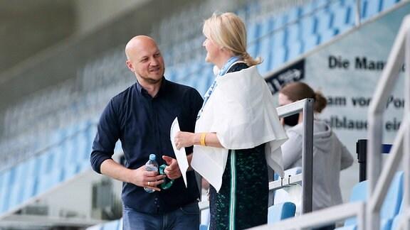 Sportdirektor Armin Causevic  Chemnitzer FC und Vorstandsvorsitzende Romy Polster  Chemnitzer FC