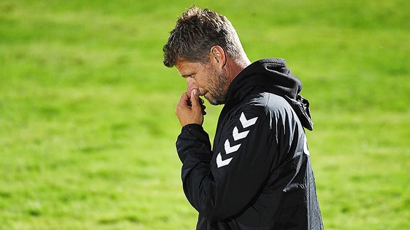 Holm Pinder, Trainer Meuselwitz, nach der Niederlage im Regionalliga-Spiel Optik Rathenow gegen Meuselwitz 18.08.2021