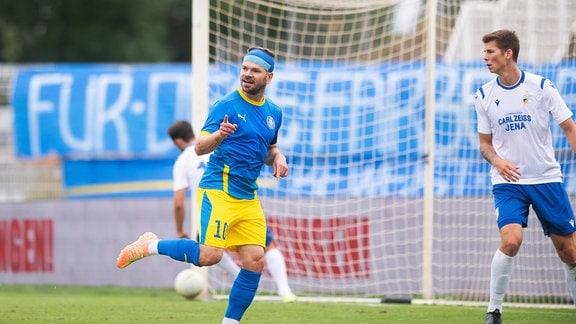 Torschütze Paul Schinke Leipzig jubelt über sein Tor zum 1:0 für Leipzig.