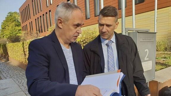 Ex- Ehrenrat des Chemnitzer FC Mario Lengtat und Vorstandsvorsitzender des Chemnitzer FC Andreas Georgi