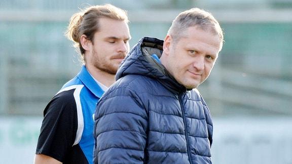 Erik Schmidt Trainer Bischofswerda re. und Tobias Heppner Co-Trainer Bischofswerda li.
