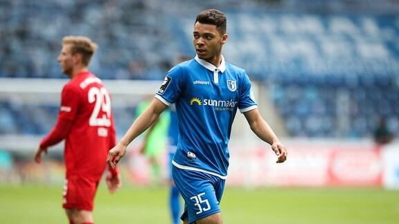 Theo Ogbidi vom 1. FC Magdeburg bei einem Spiel