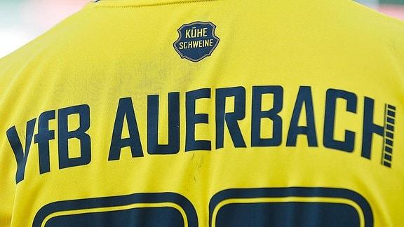 Rückansicht eines Spielers vom VfB Auerbach mit der selbstironischen Aufschrift Kühe Schweine Auerbach