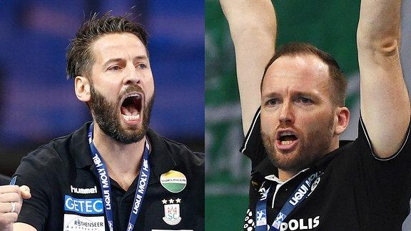 Trainer Bennet Wiegert(SC Magdeburg) und Andre Haber (Trainer DHfK Leipzig)