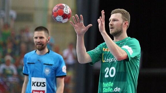 Philipp Weber, SC DHfK Leipzig, fängt einen Ball.