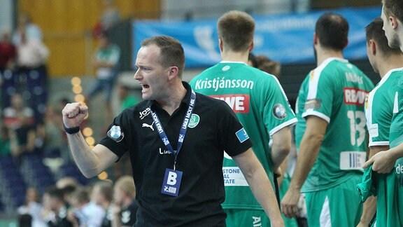 Trainer Andre Haber (SC DHfK Leipzig), Jubelt