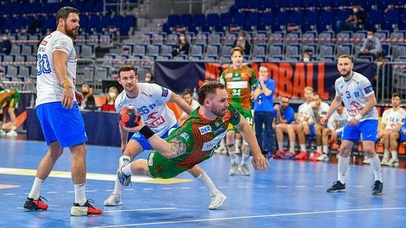 Orlen Wisla Plock (POL) bei einem Handballspiel.