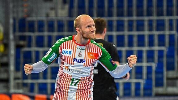 Tim Hornke (SC Magdeburg, 17) bejubelt seinen Treffer