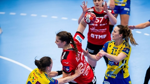 Thüringer HC - Storhamar HE. THC-Rückraumspielerin Arwen Rühl warf zwölf Tore.