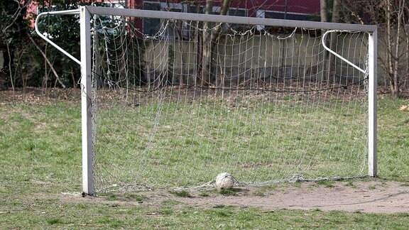 Fußball liegt in Tor