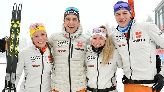 Coletta Rydzek, Janosch Brugger, Antonia Fräbel und Richard Leupold