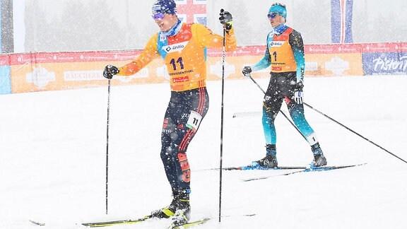 Richard Leupold (Deutschland / Dresden) (li.) und Jules Chappaz (Frankreich) beim Langlauf-Sprint U23