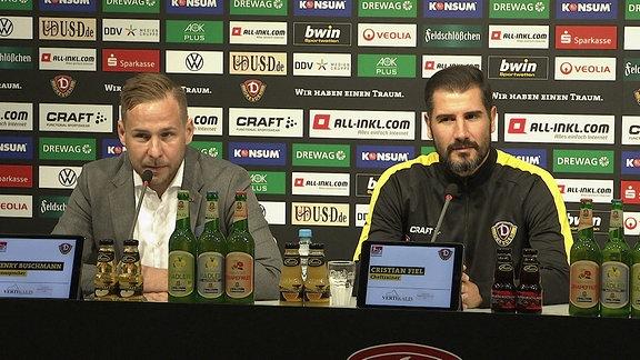 SGD-Pressesprecher Henry Buschmann mit Trainer Cristian Fiel