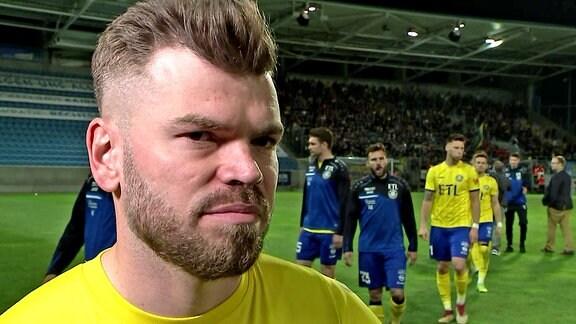 Paul Schinke (Lok Leipzig) im Interview nach dem Sachsenpokal-Halbfinale gegen den Chemnitzer FC