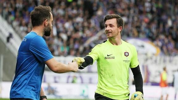 Torwarttrainer Max Urwantschky und Torhüter Martin Männel