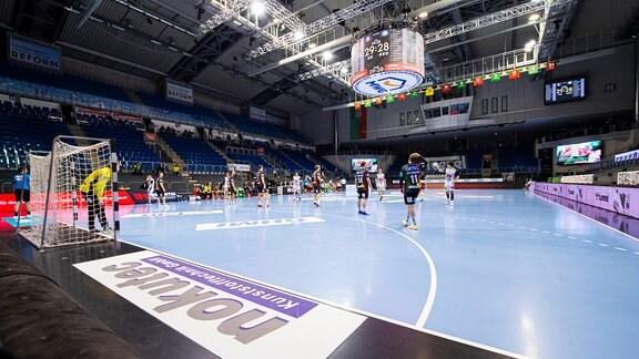 SC Magdeburg - GWD Minden: Symbol GETEC-Arena Magdeburg Sachsen-Anhalt Deutschland GETEC-Arena
