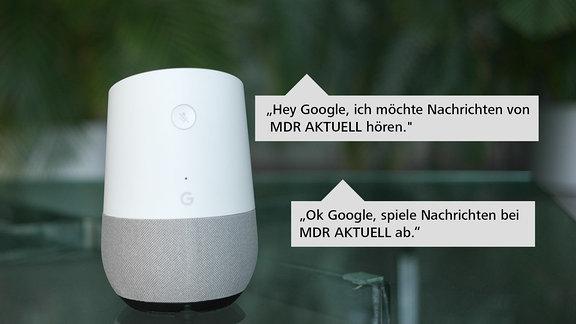 Ein weißes Google Home Gerät steht auf einem Glastisch. Im Hintergrund sind Grünpflanzen zu sehen.