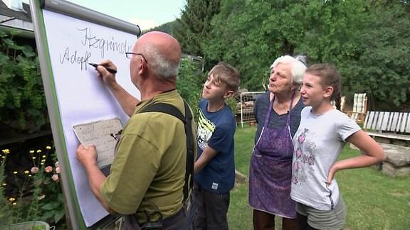 """Ein Mann schreibt Wörter auf ein Flip Chart die auf den Thüringischen Dialekt """"Itzgründisch"""" zurückzuführen sind. Daneben stehen eine Frau und zwei Kinder die dabei zusehen. Sie stehen in einem Garten."""