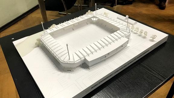 Modell eines Fußballstadions