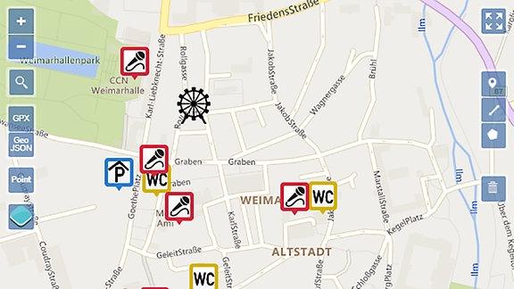 Stadtkarte Weimar mit Parkplätzen und Bühnen-Übersicht