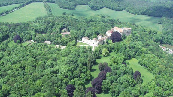 Das Schloss Ernstbrunn inmitten grüner Wälder.