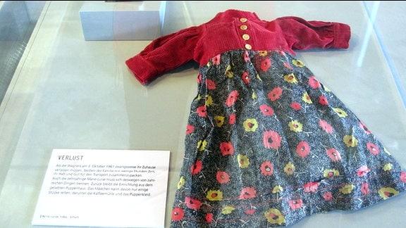 Von den Zeitzeugen werden persönliche Dinge gezeigt – hier: Puppenkleid und die kleine Puppen-Kaffeemühle von Marie-Luise Tröbs