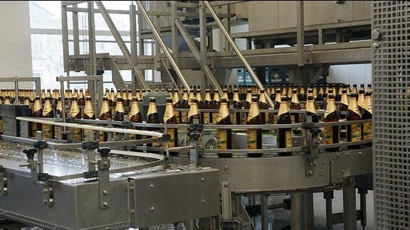 Bierlaufband in der Brauerei Apolda