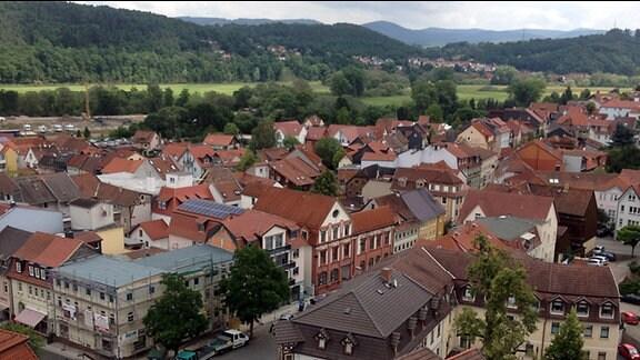 Blick von oben auf die Innenstadt von Bad Salzungen