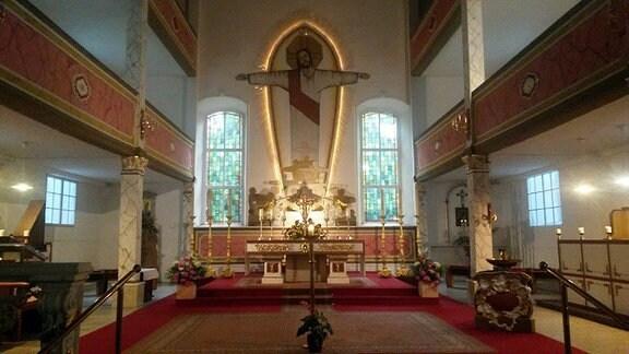 Der Innenraum der Kloster Kirche Sankt Wigbert