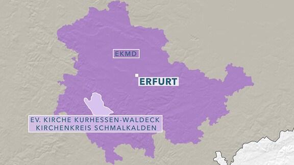 Karte Evangelische Kirche in Thüringen