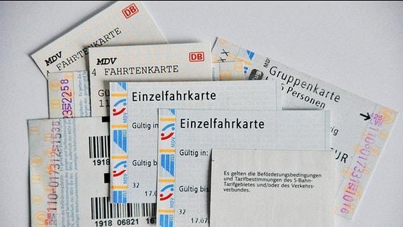 Verschiedene Fahrkarten des MDV