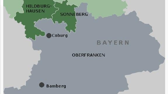 Die Landkreise Sonneberg und Hildburghausen und Oberfranken
