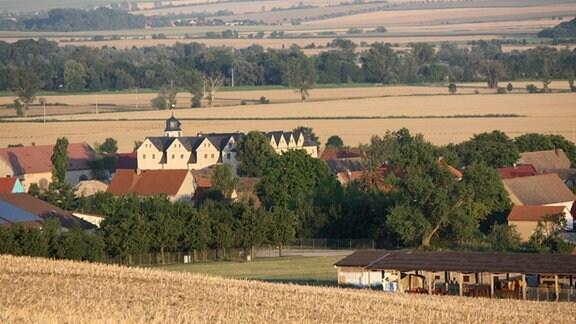 Blick auf ein Dorf, das von Getreidefeldern umgeben ist. In der Mitte des Ortes steht ein großes Schloss.