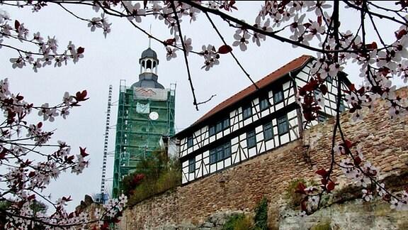 Die Kirche in Walldorf mit eingerüstetem Kirchturm