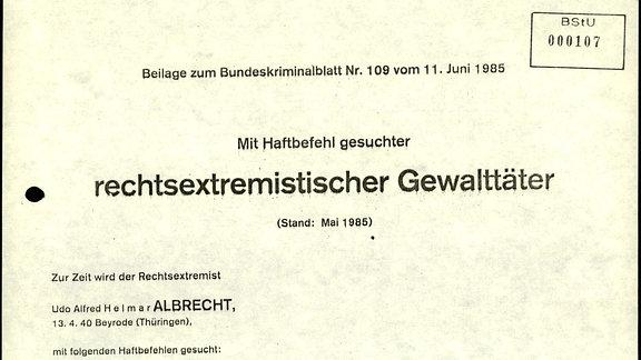 Bundeskriminalamt Haftbefehl, Auszüge aus der Akte MfS AOPK 25579/91 vom BStU