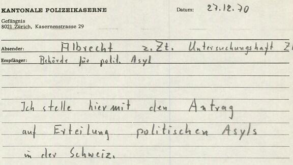 Ein Foto vom Asylantrag Udo Albrechts in der Schweiz von 1970