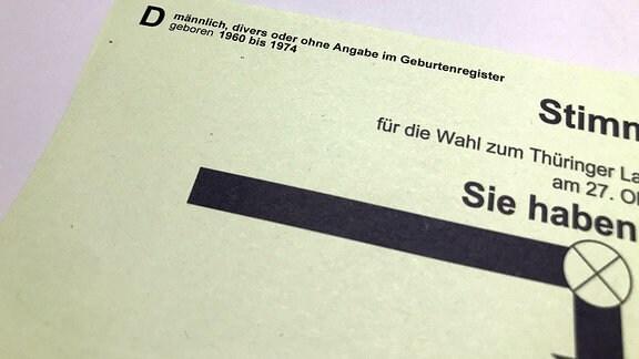 Spezieller Stimmzettel mit Angabe «männlich, divers oder ohne Angabe im Geburtenregister, geboren 1960 bis 1974».
